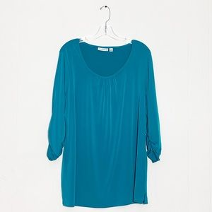 Susan Graver Blue 3/4 Ruched Sleeve Stretch